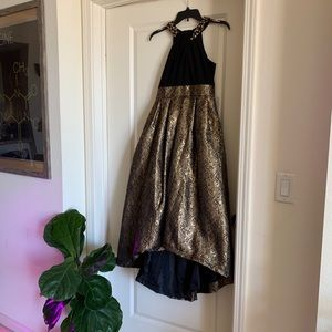 Black and gold formal evening gown